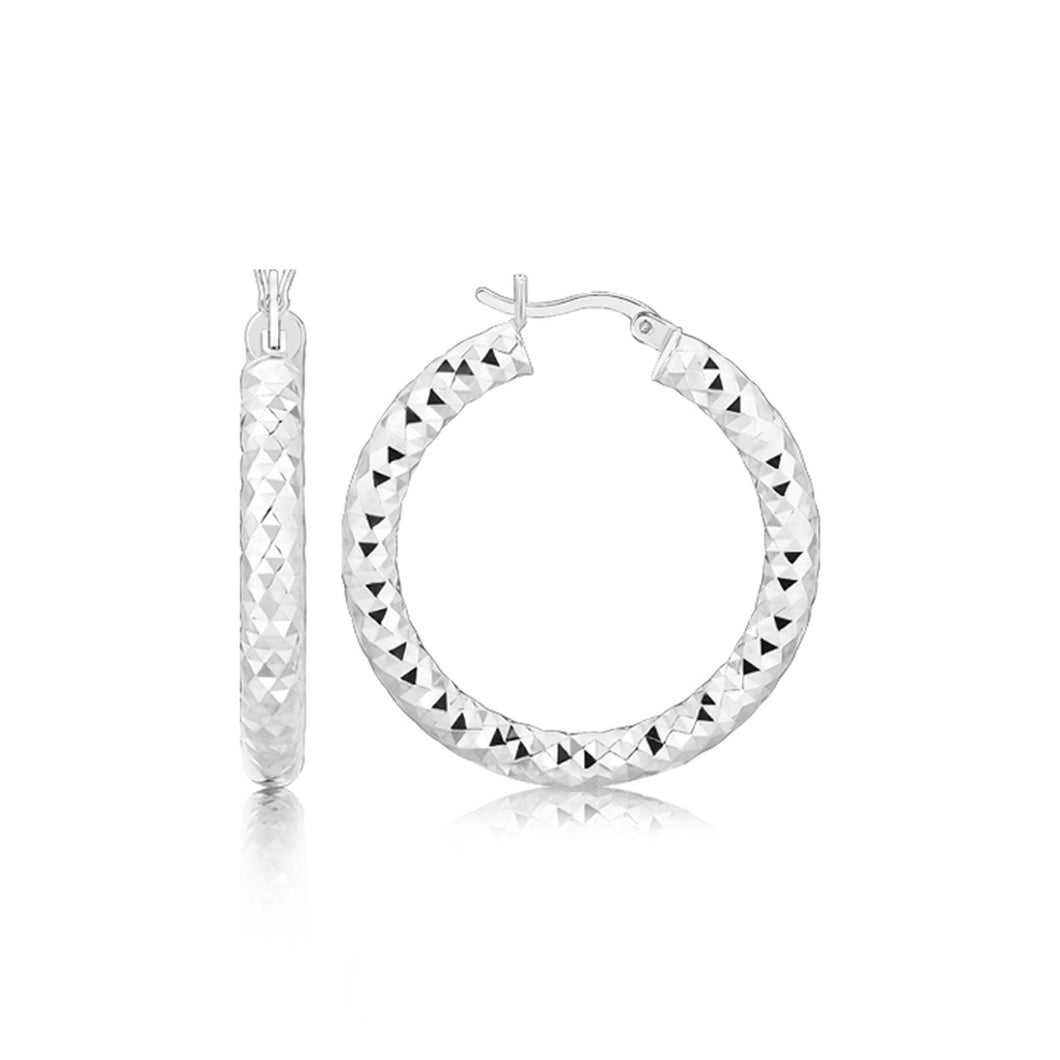 Sterling Silver Rhodium Plated Thick Faceted Style Hoop Earrings - Allshop.store