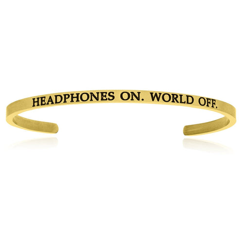 Yellow Stainless Steel Headphones On World Off Cuff Bracelet - Allshop.store
