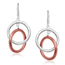 Load image into Gallery viewer, Sterling Silver with Rose Tone Rings Interlaced Earrings - Allshop.store