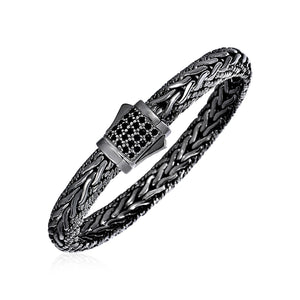 Wide Woven Bracelet with Black Sapphires and Black Finish in Sterling Silver - Allshop.store
