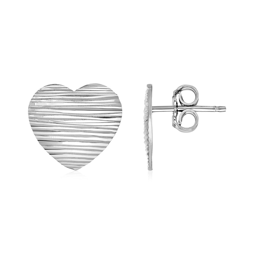 Textured Heart Earrings in Sterling Silver - Allshop.store
