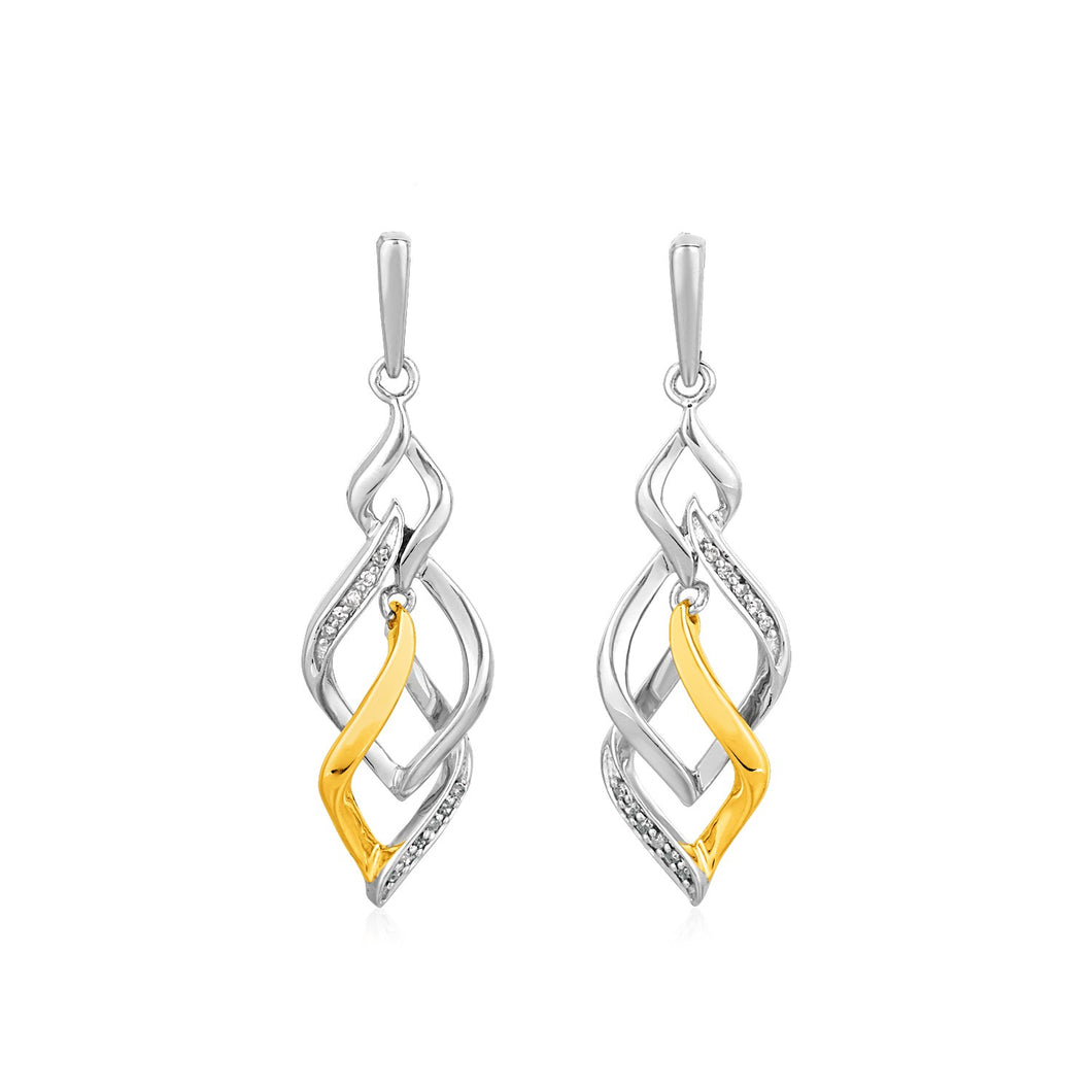 Two Toned Interlocking Twist Earrings with Diamonds in Sterling Silver - Allshop.store