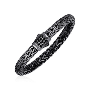 Woven Rope Bracelet with Black Sapphire and Black Finish in Sterling Silver - Allshop.store