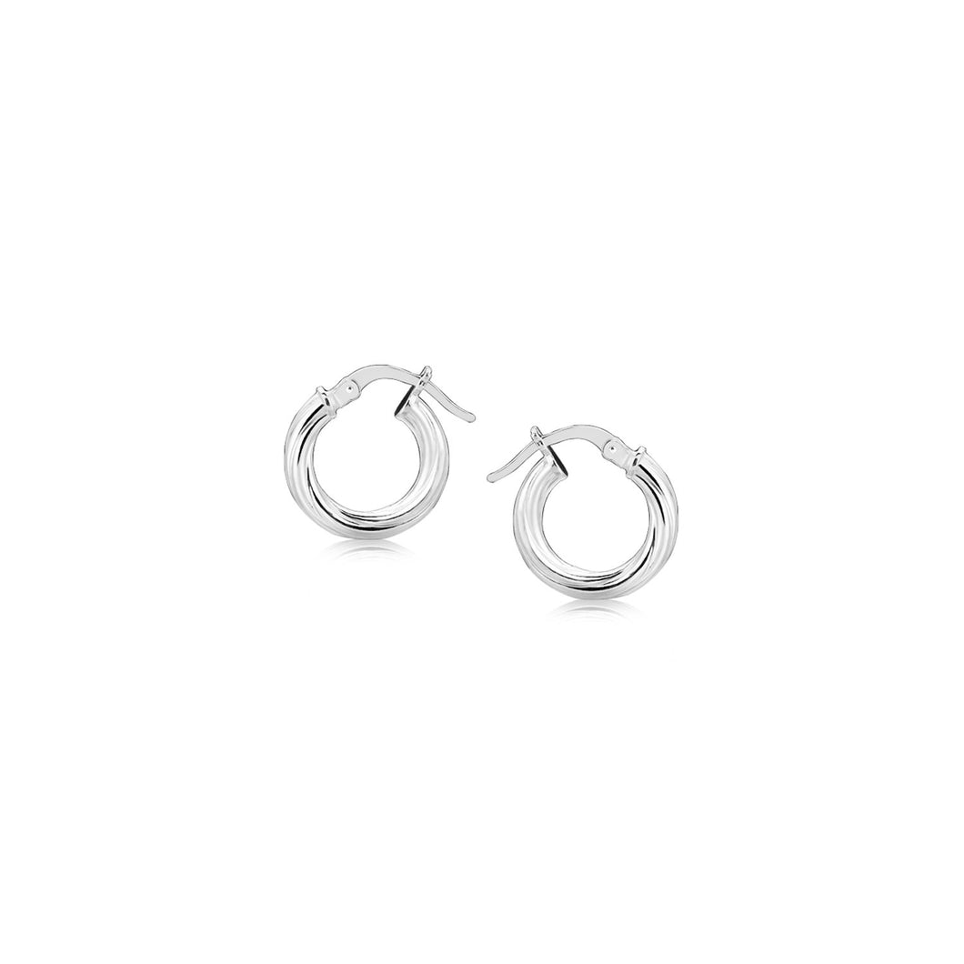 Sterling Silver Twist Style Small Size Hoop Earrings - Allshop.store