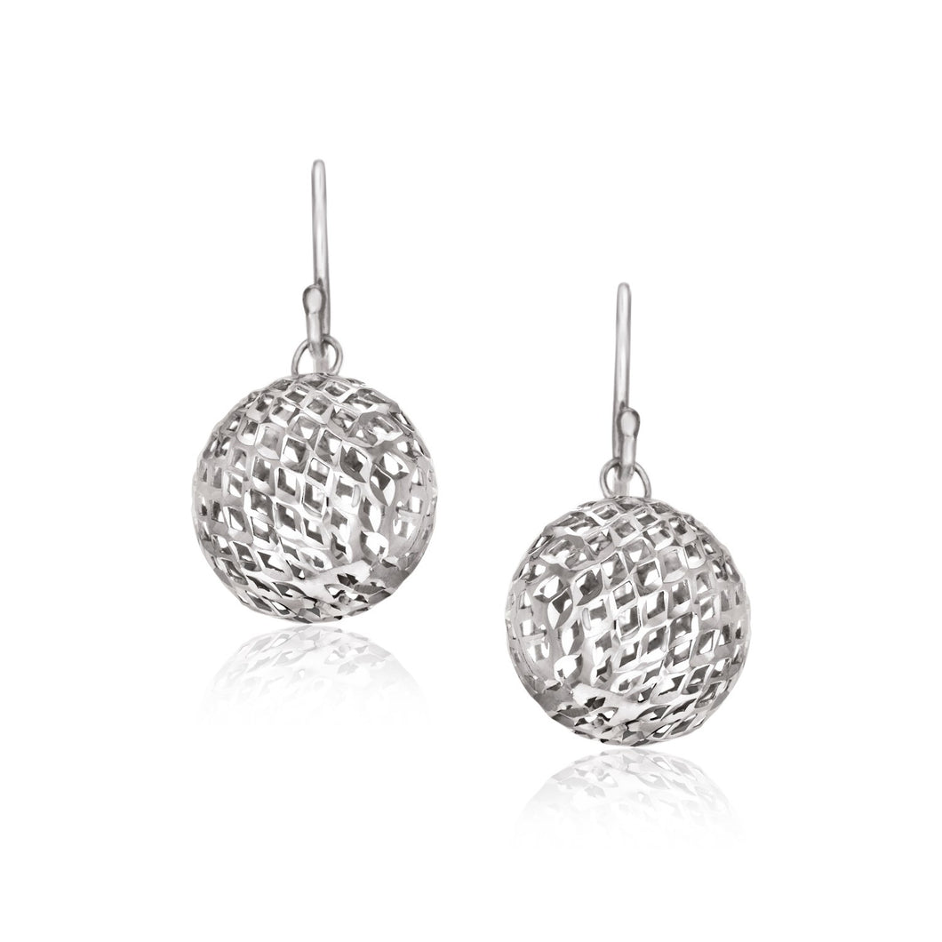 Sterling Silver Round Drop Earrings with Mesh Design - Allshop.store