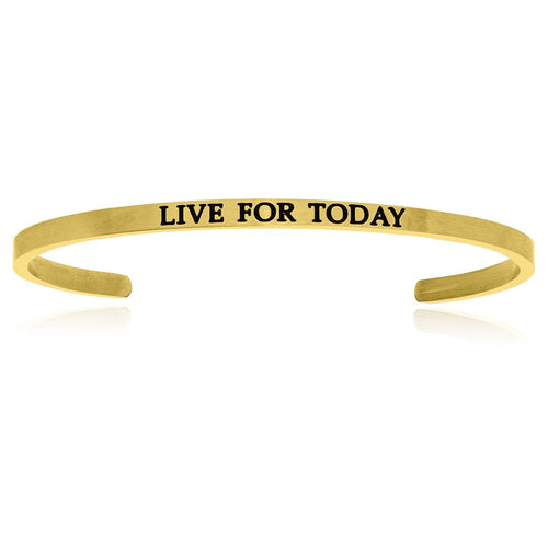 Yellow Stainless Steel Live For Today Cuff Bracelet - Allshop.store