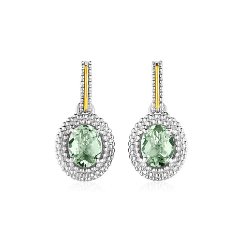 Oval Green Amethyst Earrings in 18k Yellow Gold & Sterling Silver - Allshop.store