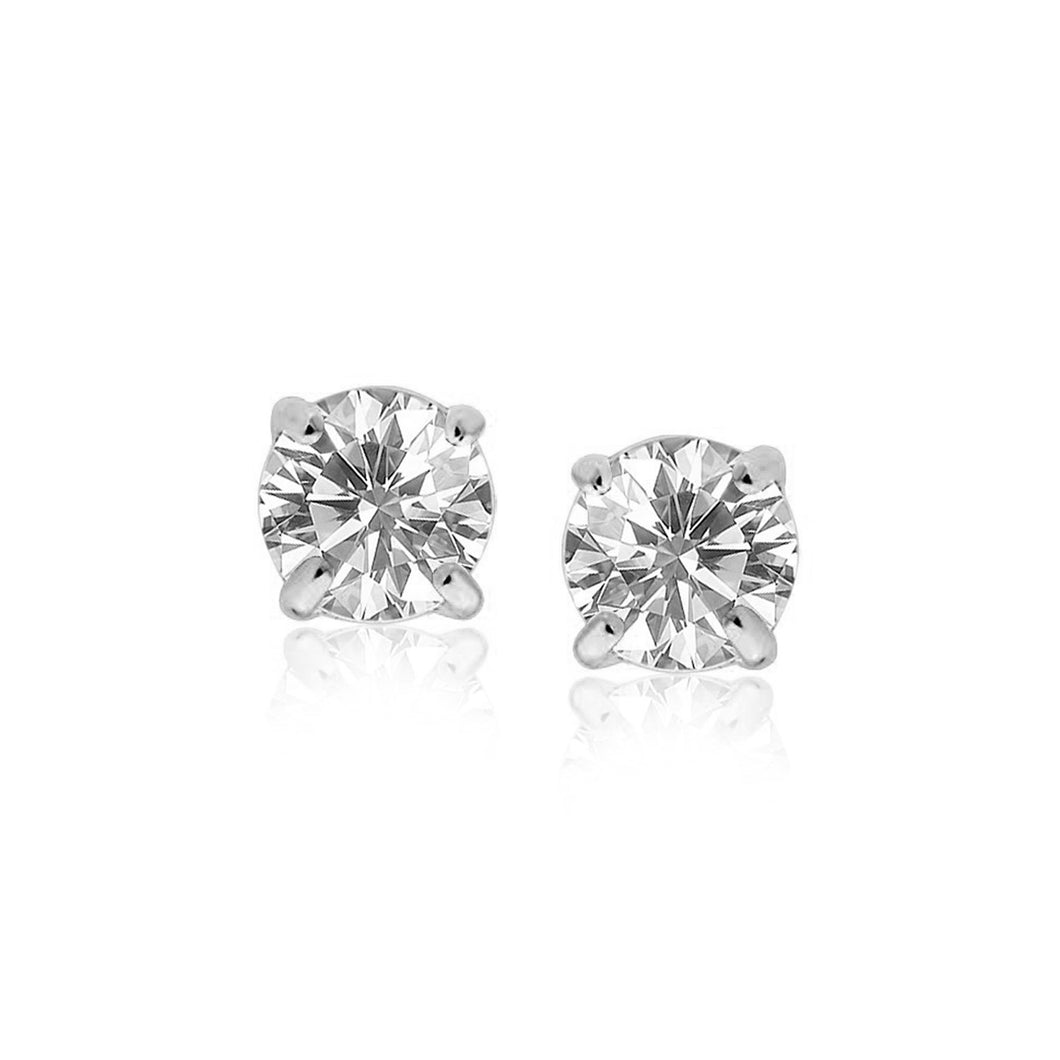 Sterling Silver Stud Earrings with White Hue Faceted Cubic Zirconia - Allshop.store
