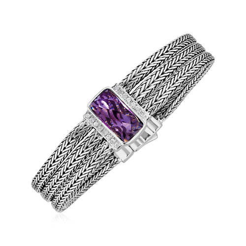 Three Strand Bracelet with Pink Amethyst and White Sapphires in Sterling Silver - Allshop.store