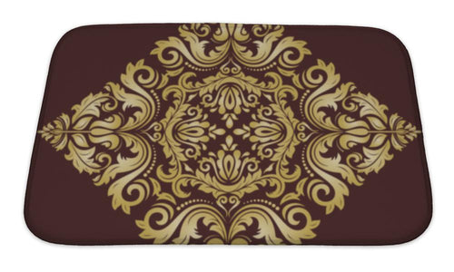 Bath Mat, Damask Pattern Orient Golden Ornament | Allshop.store