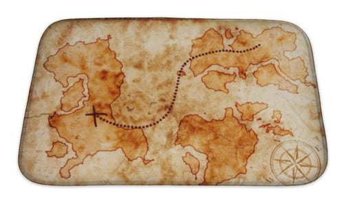 Bath Mat, Old Treasure Map | Allshop.store