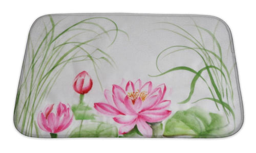 Bath Mat, Lotus Flower Watercolor Painting | Allshop.store
