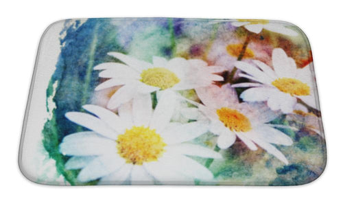 Bath Mat, Flower Watercolor Illustration | Allshop.store
