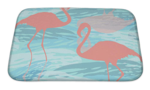 Bath Mat, Pattern With Pink Flamingo Silhouette | Allshop.store