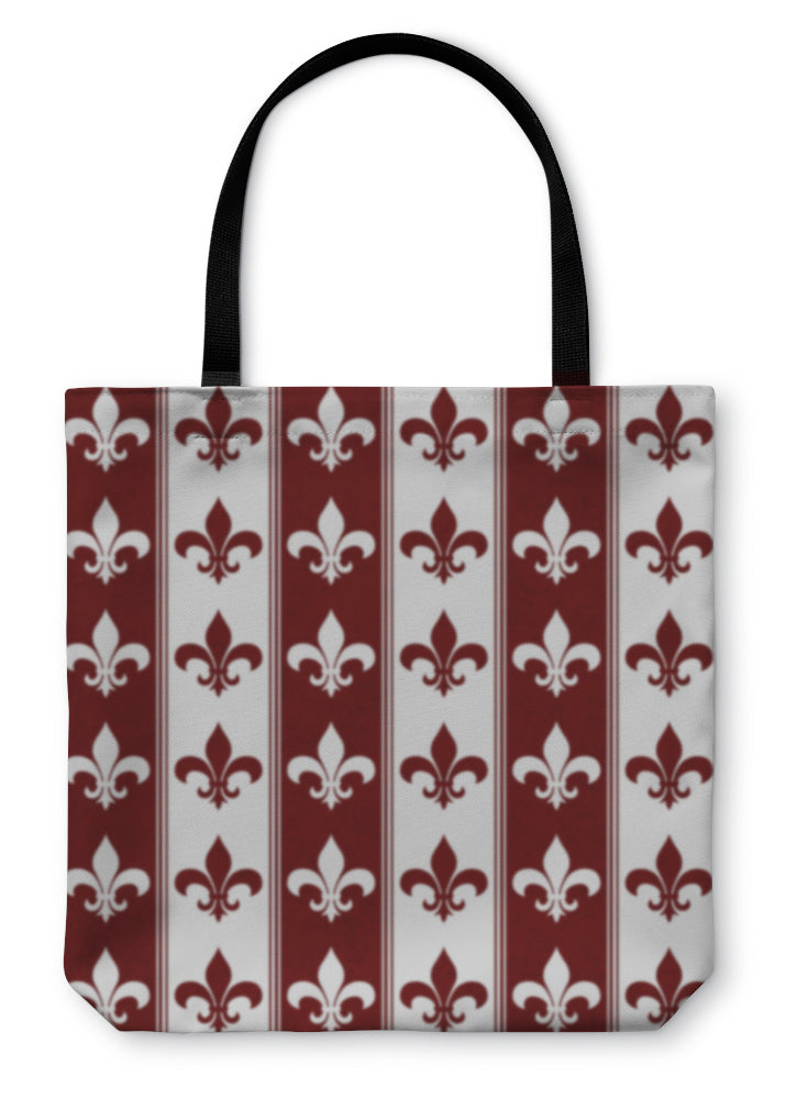 Tote Bag, White And Red Fleur De Lis Fabric