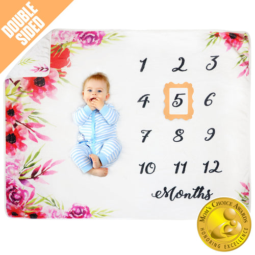 Pamperous Baby Monthly Milestone Blanket - Mom's Choice Award Winner,