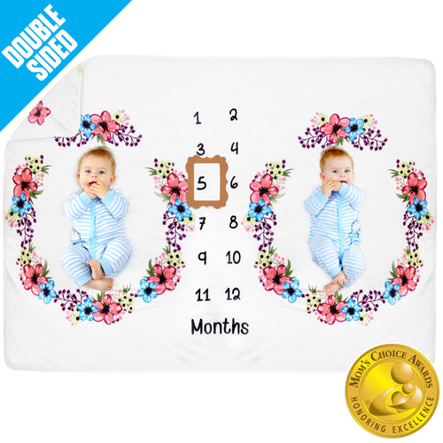 Pamperous Baby Monthly Milestone Blanket Twins - Mom's Choice Award