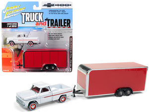 "1965 Chevrolet Pickup Truck White with Enclosed Red Car Trailer Limited Edition to 6,016 pieces Worldwide ""Truck and Trailer"" Series 2 ""Chevrolet Trucks 100th Anniversary"" 1/64 Diecast Model Car by Johnny Lightning 