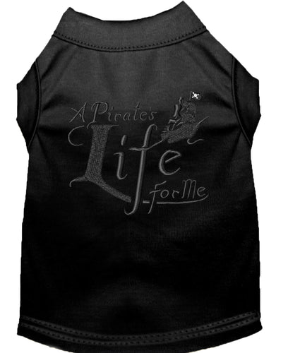 A Pirate's Life Embroidered Dog Shirt Black