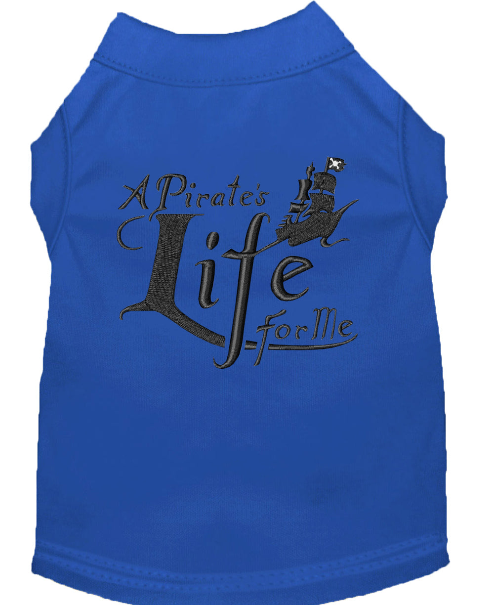 A Pirate's Life Embroidered Dog Shirt Blue