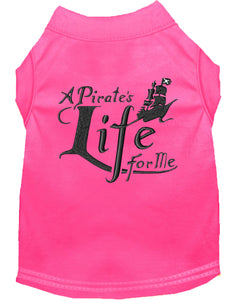 A Pirate's Life Embroidered Dog Shirt Bright Pink