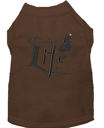 A Pirate's Life Embroidered Dog Shirt Brown