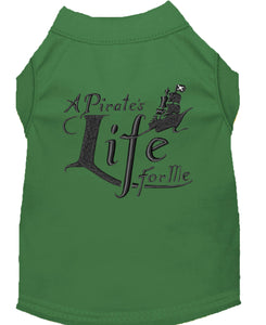 A Pirate's Life Embroidered Dog Shirt Green