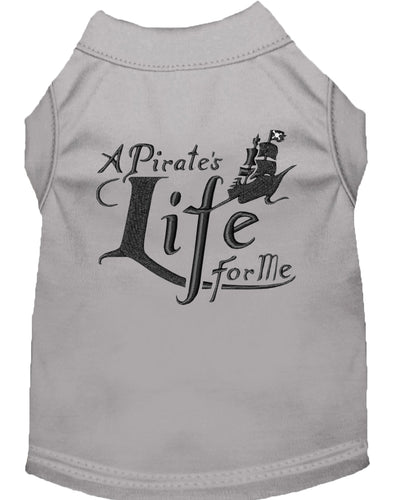 A Pirate's Life Embroidered Dog Shirt Grey