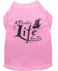 A Pirate's Life Embroidered Dog Shirt Light Pink