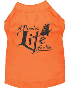 A Pirate's Life Embroidered Dog Shirt Orange