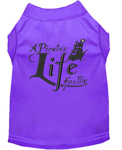 A Pirate's Life Embroidered Dog Shirt Purple