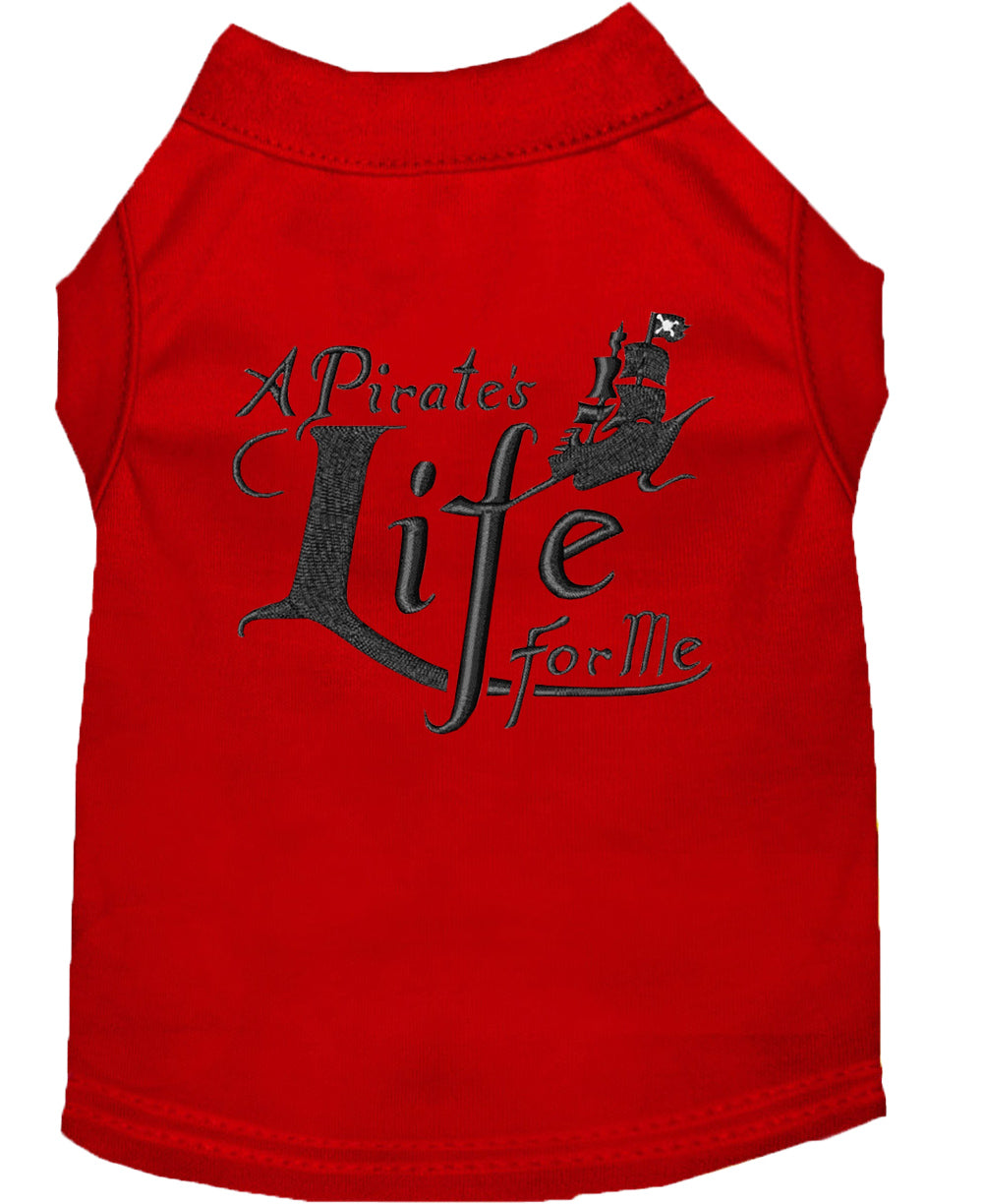 A Pirate's Life Embroidered Dog Shirt Red