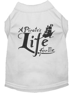 A Pirate's Life Embroidered Dog Shirt White