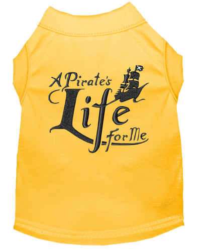 A Pirate's Life Embroidered Dog Shirt Yellow