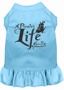 A Pirate's Life Embroidered Dog Dress Baby Blue