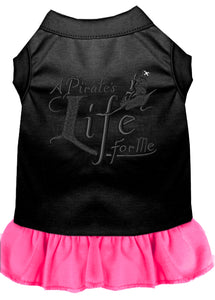 A Pirate's Life Embroidered Dog Dress Black With Bright Pink