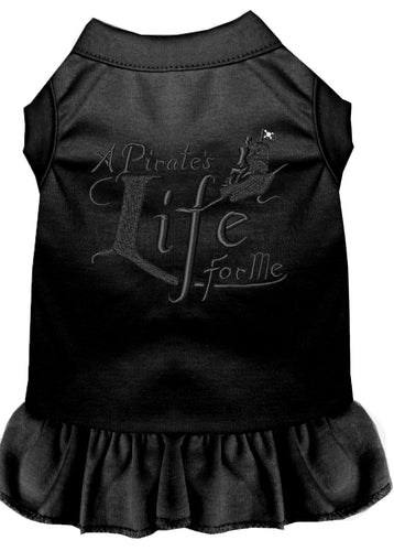 A Pirate's Life Embroidered Dog Dress Black