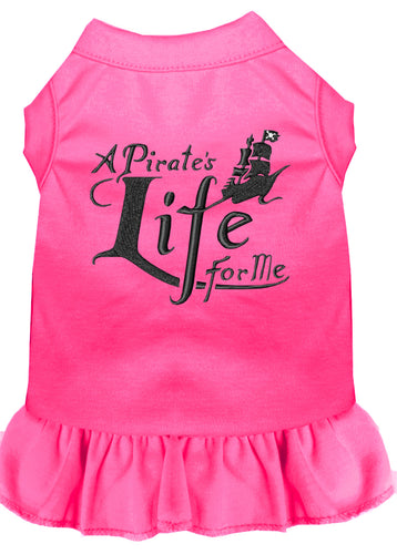 A Pirate's Life Embroidered Dog Dress Bright Pink