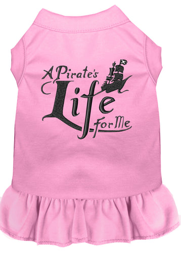 A Pirate's Life Embroidered Dog Dress Light Pink