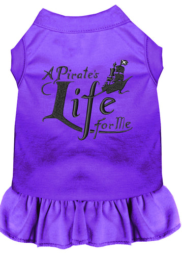 A Pirate's Life Embroidered Dog Dress Purple
