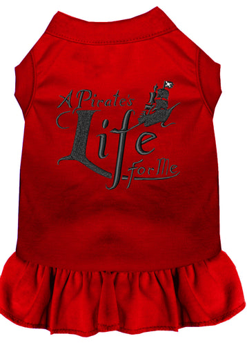 A Pirate's Life Embroidered Dog Dress Red