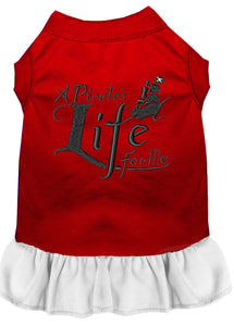 A Pirate's Life Embroidered Dog Dress Red with White