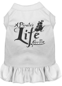 A Pirate's Life Embroidered Dog Dress White