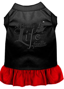 A Pirate's Life Embroidered Dog Dress Black with Red