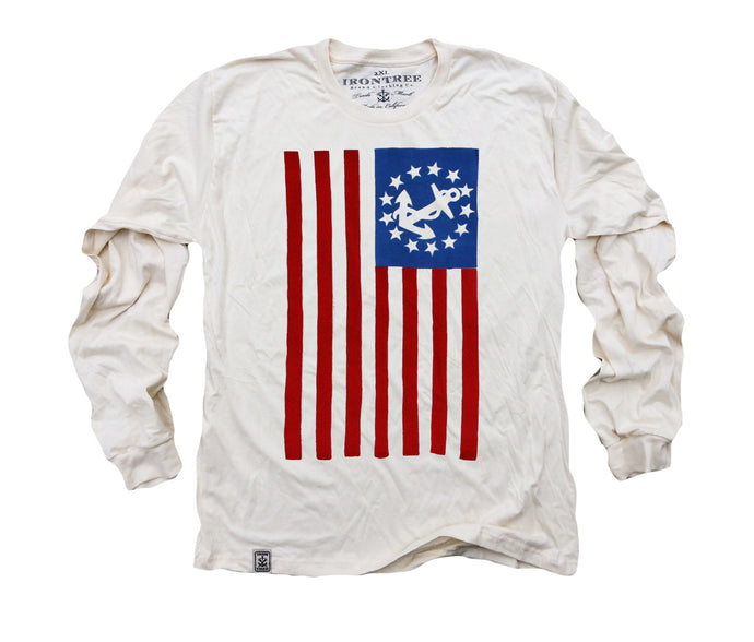 USA Yacht Ensign: Organic Fine Jersey Long Sleeve T-Shirt in Unbleached Natural