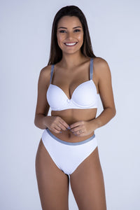 White RMC Push-up Bra and Hiphugger Thong
