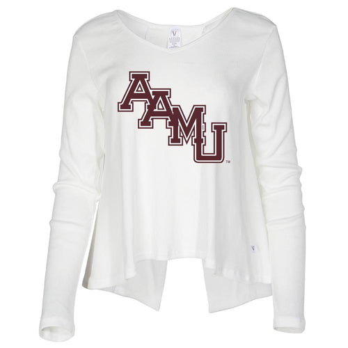 NCAA Alabama A&M Bulldogs PPAMU03 Women's Ribbed Open Back Long Sleeve V- Neck