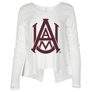 NCAA Alabama A&M Bulldogs PPAMU01 Women's Ribbed Open Back Long Sleeve V- Neck