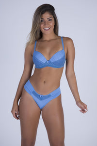 Baby Blue Perfect Shape Push-up Bra and Lace-back Thong