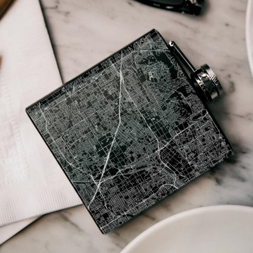 Anaheim - California Map Hip Flask in Matte Black